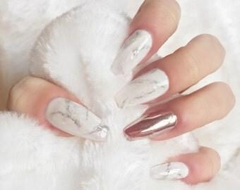 Marble press on nails rose gold chrome false nails, fake nails, nail art