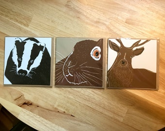 Stag, Badger and Hare Greetings Card Set