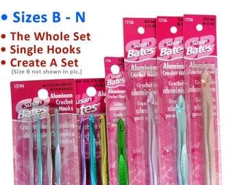 Set B-N or Singles! Sizes B C D E F G H I J K L M N Susan Bates Crochet Hooks. The Whole B-N Set, Smaller Sets, or Make Your Own Set!