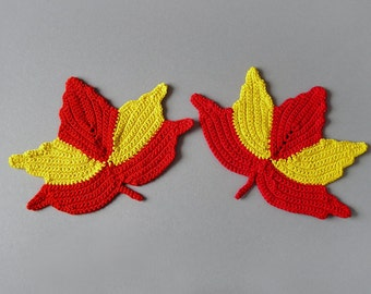 2 Crochet Coasters - Autumn Leaves