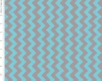 Aqua & Gray Chevron Fabric, Riley Blake C400-09 Small Chevron, Aqua Cotton Fabric, Gray Chevron Quilt Fabric