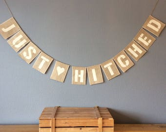 JUST HITCHED Wedding Bunting Banner. Vuntage Hessian Burlap Rustic