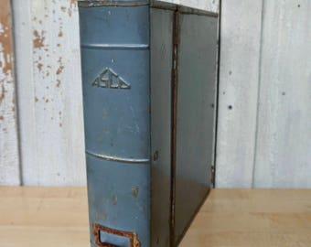 Vintage Industrial Metal File Box, ASCO Office Storage Box, Book Box, Metal Book, Important Paper Storage Box, Bookshelf Filing System