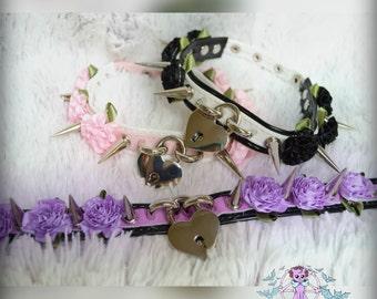 Heart locket spiked pastel goth punk flower faux leather choker necklace Soft Grunge, kawaii,harajuku,nugoth