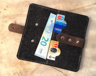 Wool felt & leather wallet
