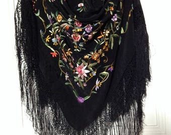 Vintage Piano Shawl   Embroidered Black Silk