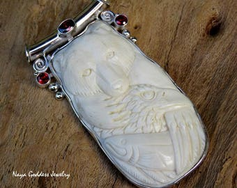 Silver Animal Totem/ Spirit Bear and Eagle Pendant with Garnet BP-214