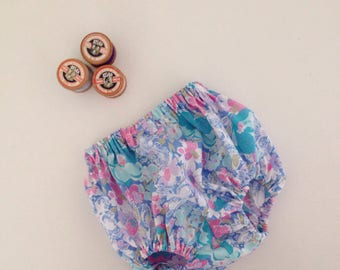 Baby bloomers // floral Diaper cover knickers blue retro style girls  // UK