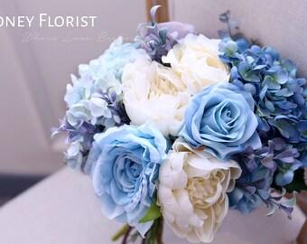 Handmade Custom Baby Tiffany Navy Blue Silk Flower Wedding Bouquet- Graden Rose, Peony, Hydrangea