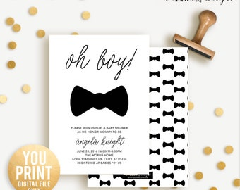 Oh Boy Baby Shower Invitation, Bowtie baby Shower Invite, Oh boy shower Invitation, Boy Shower Invite, DIGITAL, YOU PRINT