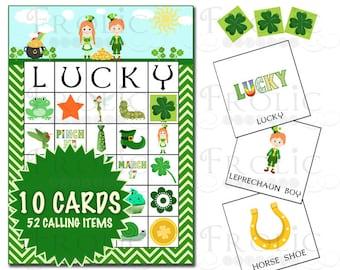 St. Patrick's Day Bingo 10 Printable cards INSTANT DOWNLOAD
