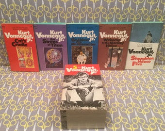 Kurt Vonnegut Paperback Book Box Set 5 By Vonnegut Cats Cradle Sirens of Titan Welcome to the Monkey House Slaughterhouse five God Bless You