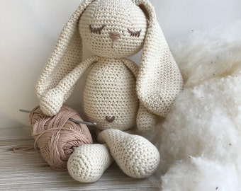 Crochet Bunny Toy organic cotton Bunny, Organic cotton  padding fiber bunny gift,Crochet bunny,Newborn Prop,Easter Bunny,healthy baby gift,