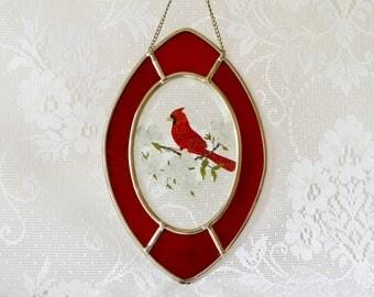Vintage Lyford Beveled Glass Red Cardinal Sun Catcher / 10 inch / Hand Painted / ALifetimeofVintage