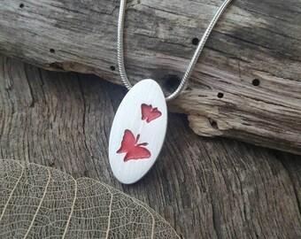 Fine silver butterfly pendant