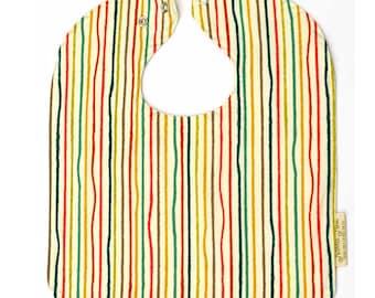 Adjustable Baby Bib, Gifts Under 30, Organic Baby Bib in Yarn Stripe, Organic Toddler Bib, Gender Neutral Bib, Baby Shower Gifts, Large Bib