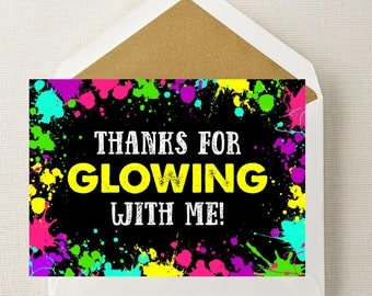 Neon Glow Party Favor Tags // Neon Glow Thank You Cards // Neon Glow Birthday // Glow Birthday // Glow Party // Glow in the Dark Party