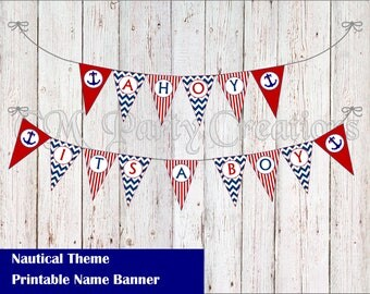 Baby Shower Nautical Theme Banner - AHOY ITS A BOY