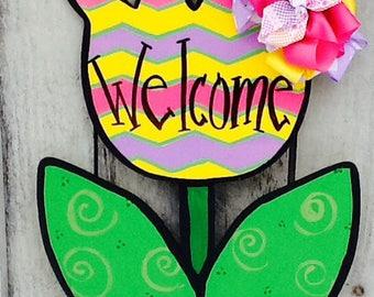 Flower door hanger, tulip sign, tulip door hanger, summer door sign, welcome summer sign, summertime sign, tropical flower door hanger,