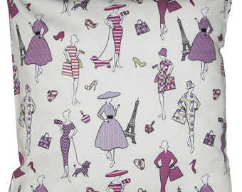 Retro Spingtime in Paris Purple Cushion Cover
