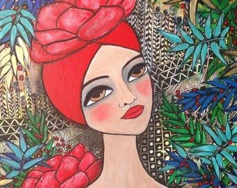 Red Lotus III. Mixed media folk art portrait.