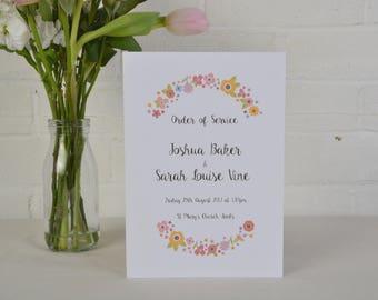 Wedding Ceremony Order of Service, Love Sign Wedding Stationery, Civil Ceremony Order of Service, Custom Wedding Ceremony Program