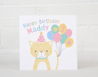Personalised Cat Birthday Card for a Child, 1st Birthday Card, 2nd Birthday Card, Boy Card, Girl Card, Kids Birthday Card, Cute Card