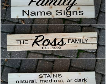 Stained Wooden Family Name Signs