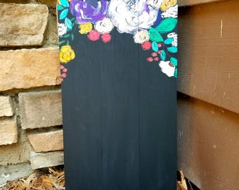 Wooden Floral Chalkboard Sign