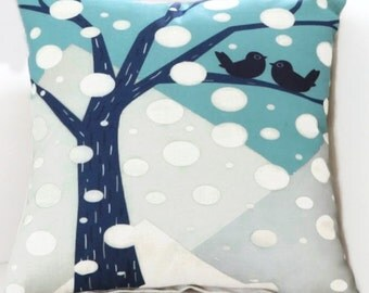 Snowbirds in a Tree on a Snowy Day - Pillow cover