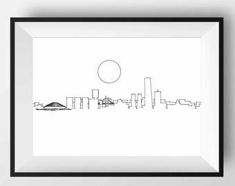 Bilbao Skyline, Bilbao art, Bilbao print, Bilbao poster, Bilbao gift, Bilbao artwork, Bilbao Spain, Bilbao Illustration, Bilbao sketch, art