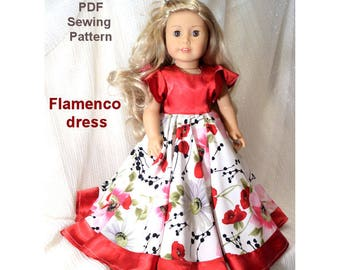 18 inch doll clothes Pattern dress American girl doll clothes pattern dress - Flamenco dress - pdf sewing pattern