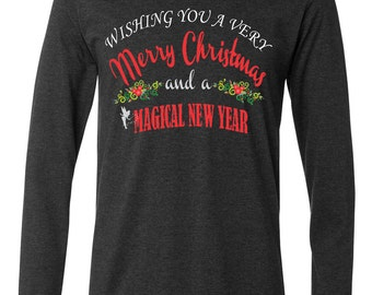 Men's Wishing You A Very Merry Christmas At Disney Long Sleeve T-Shirt