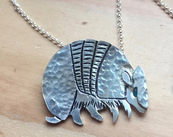 Sterling Silver Three Banded Armadillo Necklace