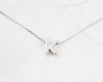 Silver  Uppercase Initial Necklace Alphabet Necklace Personalized Necklace Uppercase Letter Necklace