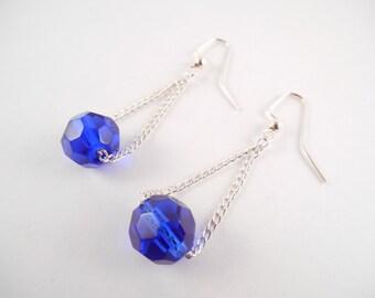 CLEARANCE Cobalt Blue Earrings - Cobalt Blue Glass Bead on Chain Dangle Earrings