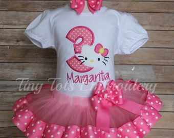 Hello Kitty Birthday Tutu Outfit ~ Includes Top, Ribbon Tutu & Hair Bow ~ Customize in any Colors!!