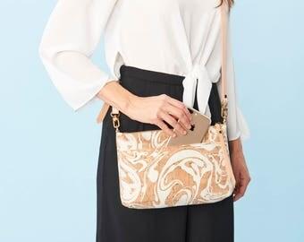 White Cork Leather Crossbody Purse, Adjustable Leather Strap, Zippered Shoulder Bag, Eco Friendly Marbled Bag, Pocket Cross Body, Summer Bag