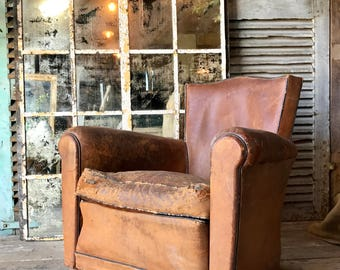 Lovely, vintage French leather club chair with studs