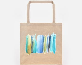 Watercolour Abstract Stripe 5 Print on Natural Canvas Tote Bag