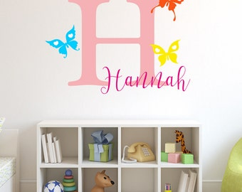 Colourful butterflies personalised initial and name wall art sticker decal, children's bedroom, playroom