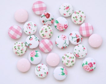 Vintage Shabby Chic Set of 6 21mm Floral Pink White Polka Dot Fabric Buttons Sewing Crafts Upholstery Cute Sweet