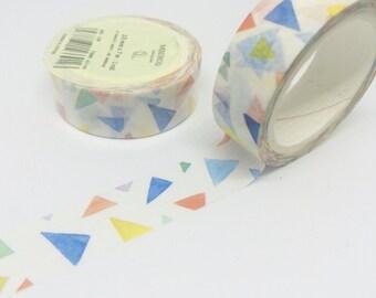 Colourful Triangles Washi Tape Watercolour 15mm x 7m