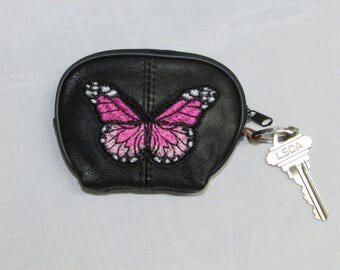 Butterfly Black Leather Keychain Wallet, Coin Purse Key Ring, Leather Change Purse, Black Leather Zip Wallet, Leather Key Ring Wallet