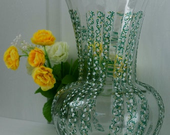 "Hand painted glass vase ""Lily of the Valley"""