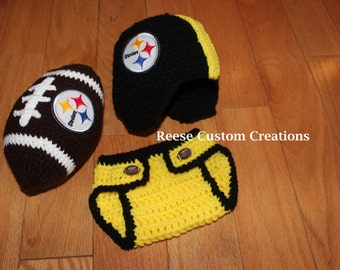 Crochet Pittsburgh Steelers Football inspired colors Newborn Baby Boy Photo Prop Outfit-. 3 Week Lead Time- Patch is larger than pictured!