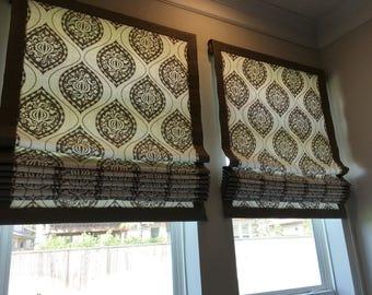 custom FLAT ROMAN SHADE Window Treatment (your fabric or mine)