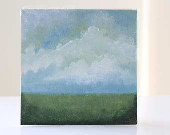 Landscape Painting, Country Field, Canvas Panel, Landscape Art, Cloud Painting, Impressionist Painting, Home Decor, Original Painting