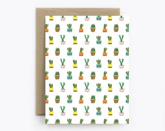 Blank Cactus Card - Birthday, Friendship, Just Because, Thank You - Tiny Cacti White