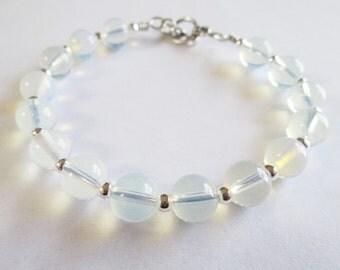 Gemstone Bracelet - Handmade Wire Wrap Bracelet with Opal Gemstone Beads - Chakra Healing Bracelet - Energy Bracelet - Zen Yoga Jewelry